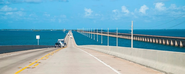 The Seven Mile Bridge connecting between Miami and Key West.