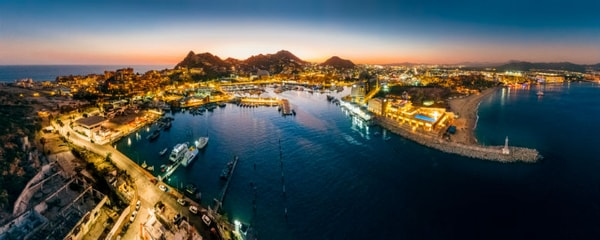 Lights along the harbour in Los Cabos