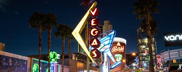 A view of Las Vegas hotels and lights at night.