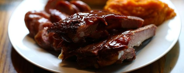 A plate of BBQ-glazed ribs served in Memphis.