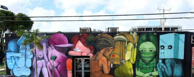 Murals are painted throughout the walls of Wynwood Arts District in Miami Florida