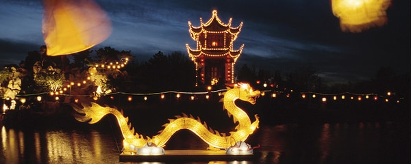 The Chinese Garden in Montreal, Canada lit up at night.