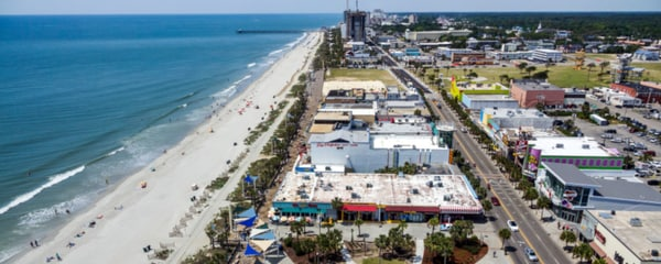 An aerial view of Myrtle Beach and its nearby attractions.