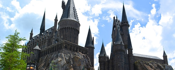 A view of Hogwarts Castle in the Wizarding World of Harry Potter.