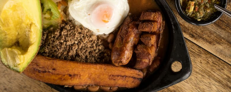 View of Columbia's national dish of Bandeja Paisa.