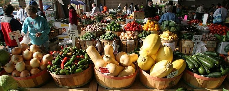 A local farmer's market filled with fresh produce in Raleigh.