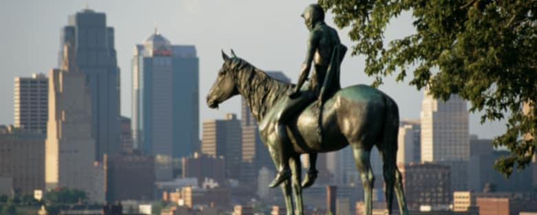 The Scout Statue overlooks Kansas City's downtown skyline.