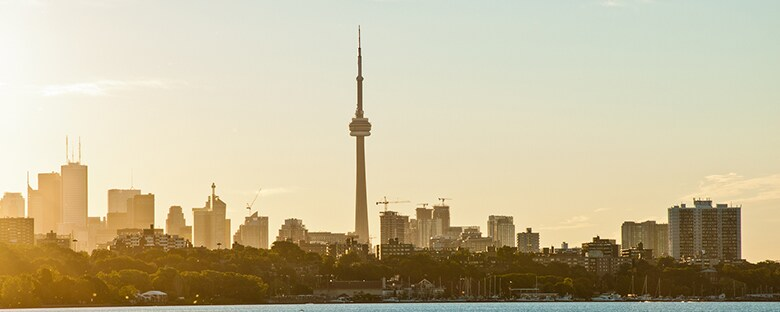 The CN Tower and Skyline of Toronto, Canada at sunset