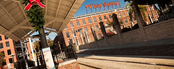 Train stop near Ybor Square in Ybor City, Tampa, FL.