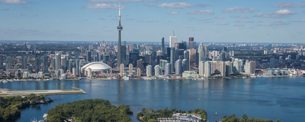 Birds eye view of the Toronto skyline on a sunny day.