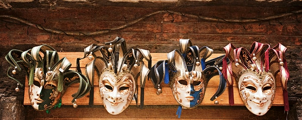 Painted masks in Venice, Italy.