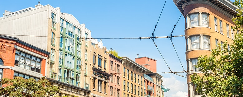 View of Gastown area buildings and tramway lines in Vancouver, British Colombia.
