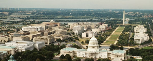 Seen from the sky, the National Mall in Washington, DC stretches forth from the Washington Monument