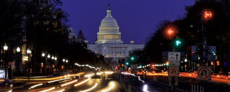The Capital building in Washington, DC at night.