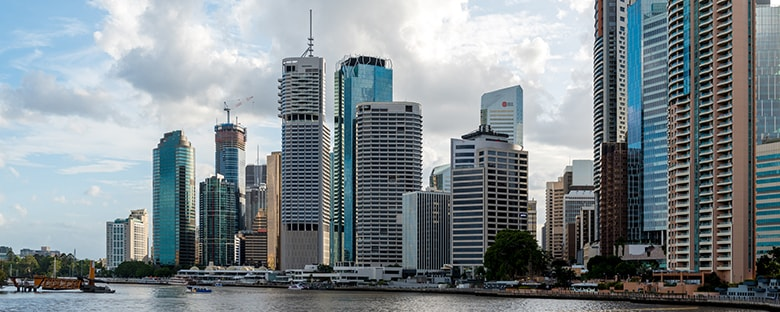 View of the Brisbane skyline from the water.