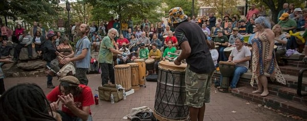 Drum circle in Pritchard Park is part of the rich local music scene in Asheville, North Carolina