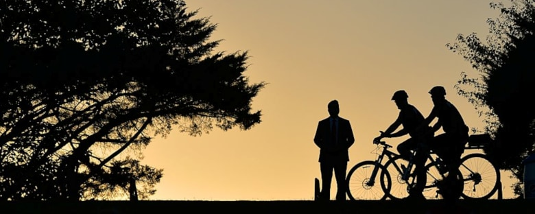 A silhouette of cyclists in Charlotte, North Carolina.