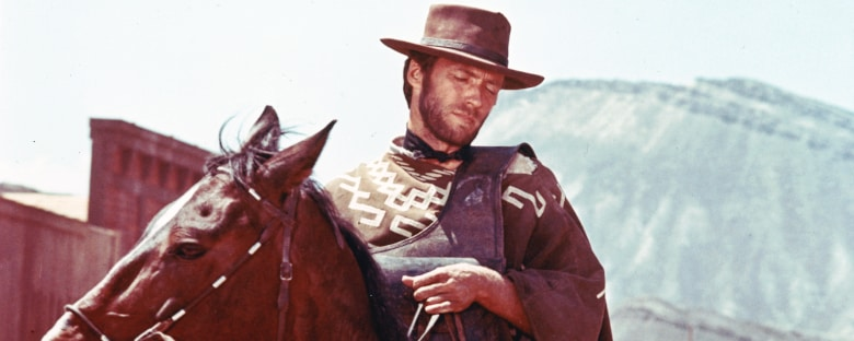 Clint Eastwood poses as a cowboy in Dallas.