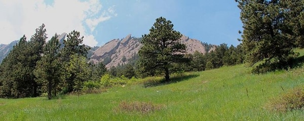 The Flatirons, an iconic rock formation outside Boulder, Colorado, are part of the Green Mountain