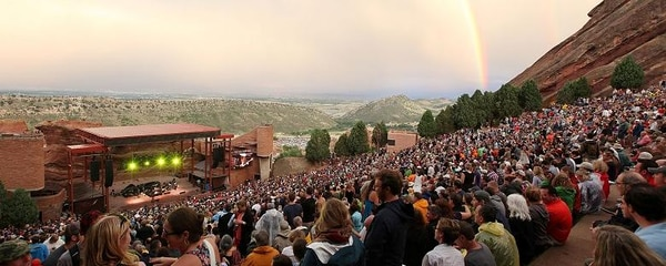 Rainbow appears during a concert at famous Red Rocks Amphitheatre near Denver, Colorado