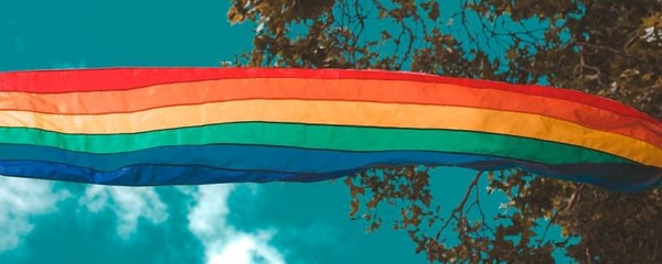 Rainbow flag flies in the diverse and LGBTQ-friendly Fort Lauderdale neighbourhood of Wilton Manors