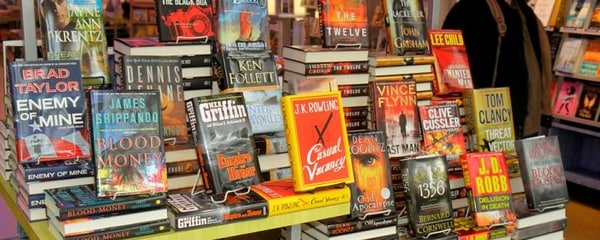 Best-sellers are on display at a local bookstore in Houston, Texas
