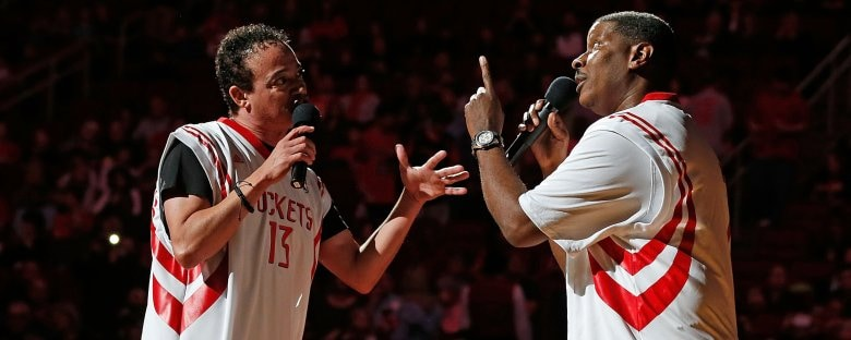 Old school rappers Kid 'n Play perform during halftime of a Houston Rockets basketball game