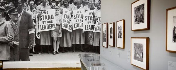 Black-and-white photos from an exhibit at the Apartheid Museum in Johannesburg, South Africa
