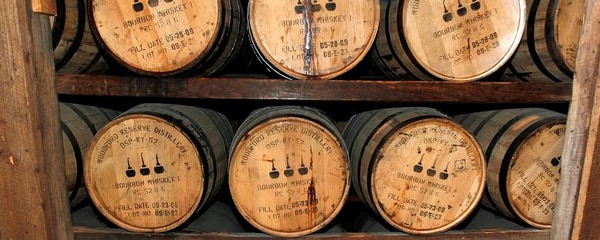 Whiskey ages in oak barrels in Woodford County, Kentucky, the heart of bourbon country