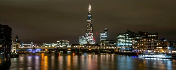 The Shard, the tallest building in London, seen here at night on the River Thames