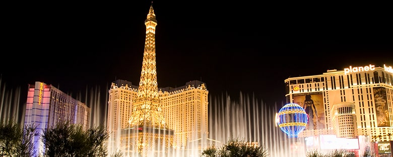 The Las Vegas Strip lit up at nighttime.