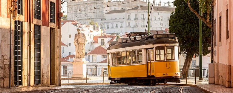 Full view of the Tramway in Lisbon surrounded by buildings on a sunny day.