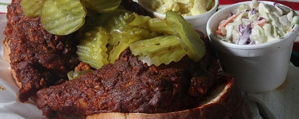 Nashville hot chicken, the famously spicy dish, is served at Prince's Hot Chicken Shack
