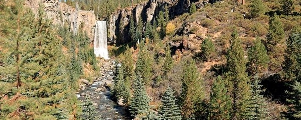 Tumalo Falls in the Cascade Mountains near the scenic mountain town of Bend, Oregon