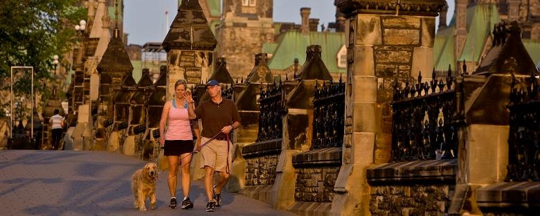 Eye level view of a couple walking their dog along Parliament Hill in Ottawa.