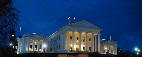 Historic Virginia State Capitol in Richmond lit up at night