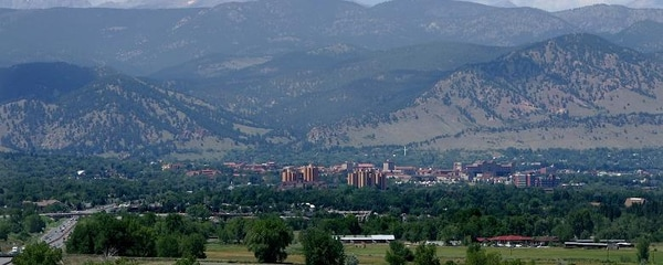 The rocky mountains towering over the town of Boulder, Colorado.