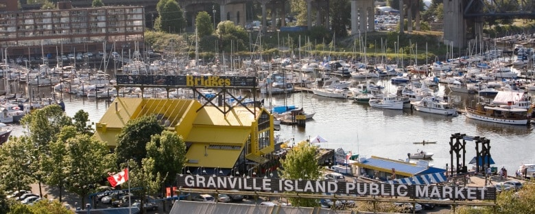 The marina and public market on Granville Island in Vancouver, Canada