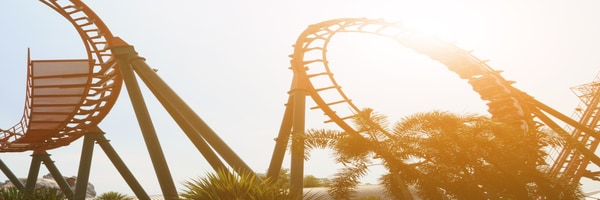 A rollercoaster and palm trees silhouetted in a theme park at dusk.