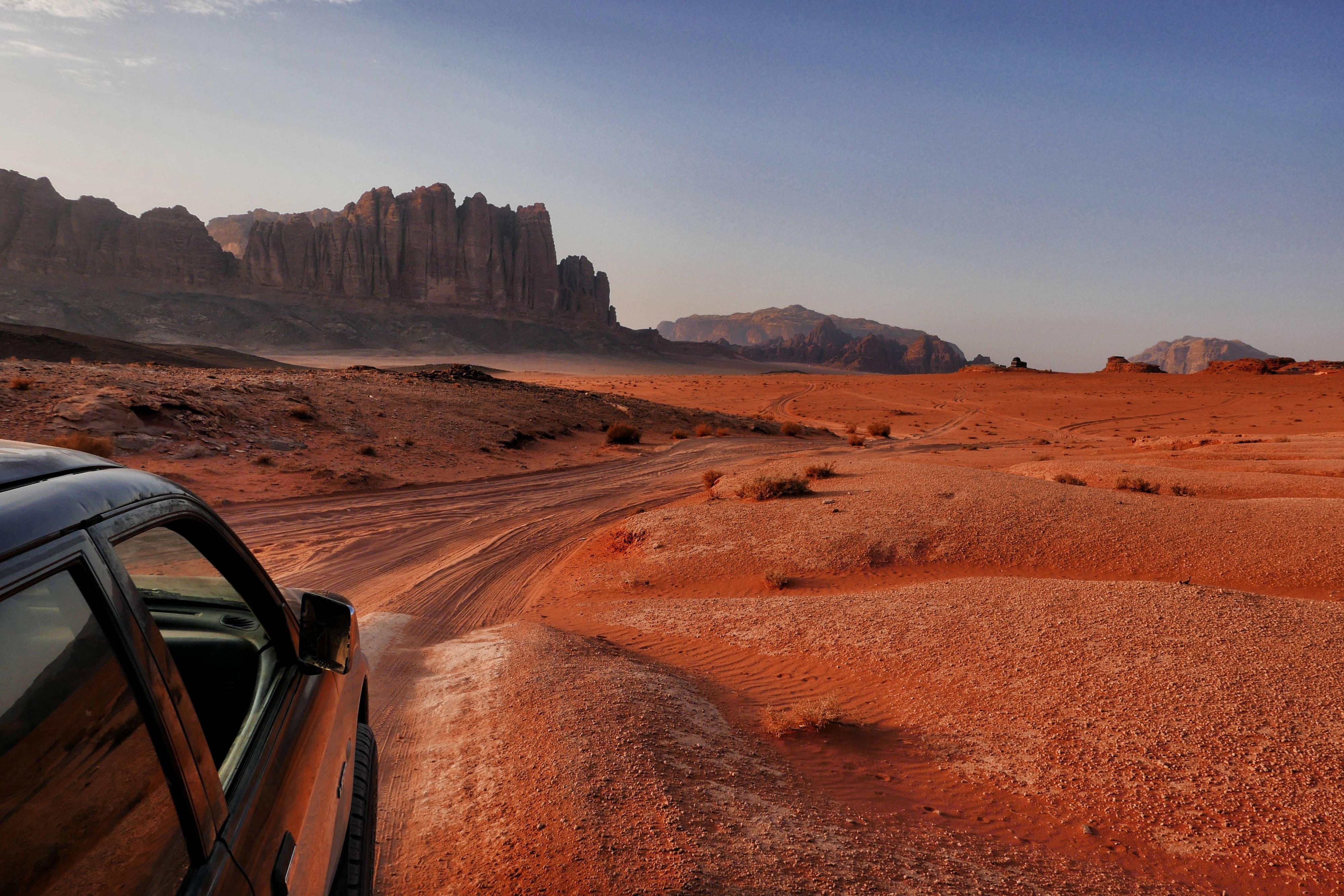 Driving through Wadi Rum