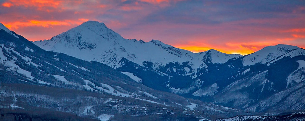 Snowmass Colorado Winter Sunset