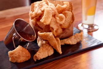 Rocks Pork Rinds with Jalapeno Jelly