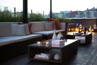 Barcelona hotel terrace sitting area