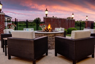 Marriott Courtyard fire pit, Hadley - Amherst, MA.