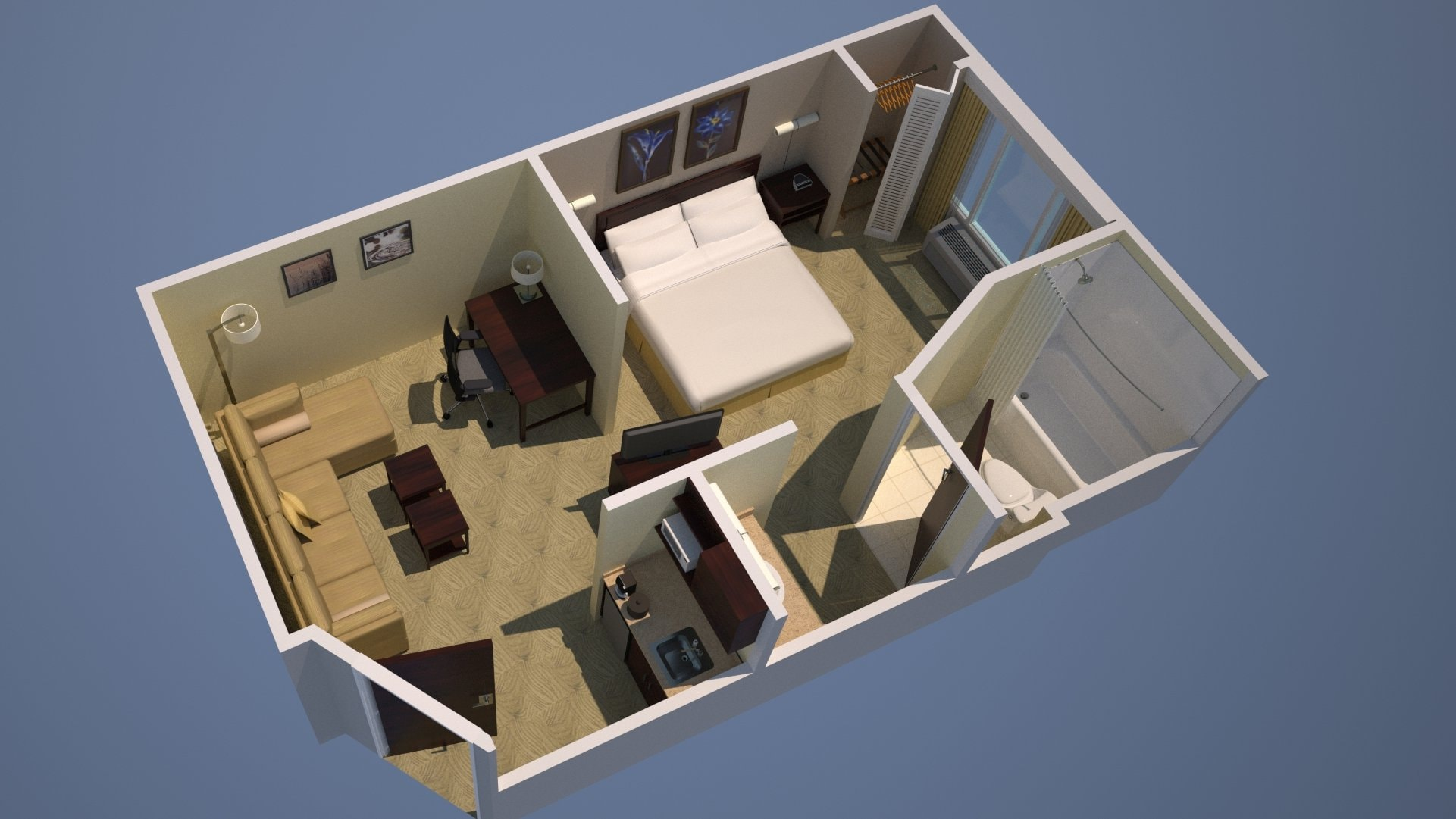 King Guestroom Floorplan