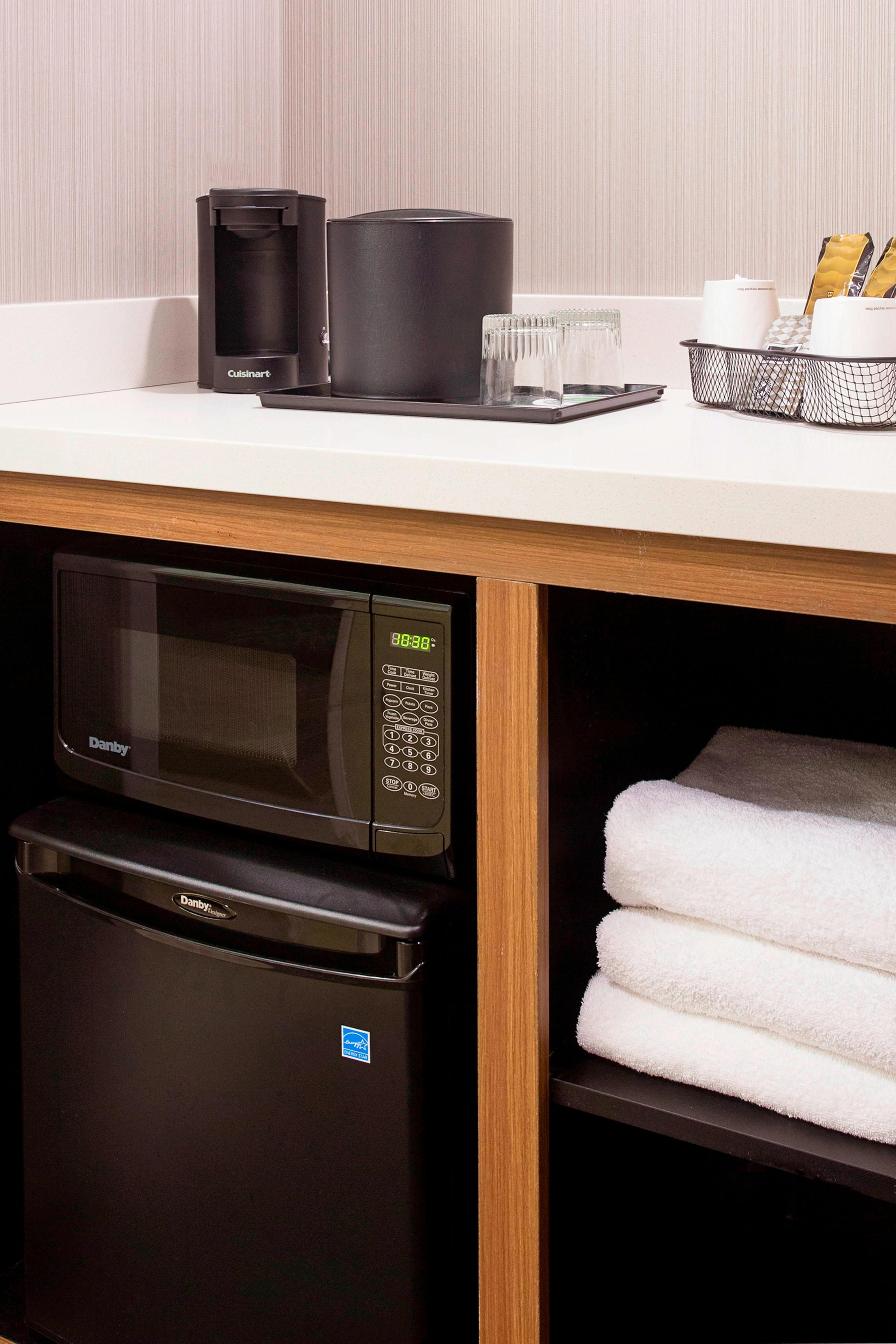 Microwave, refrigerator and coffee maker