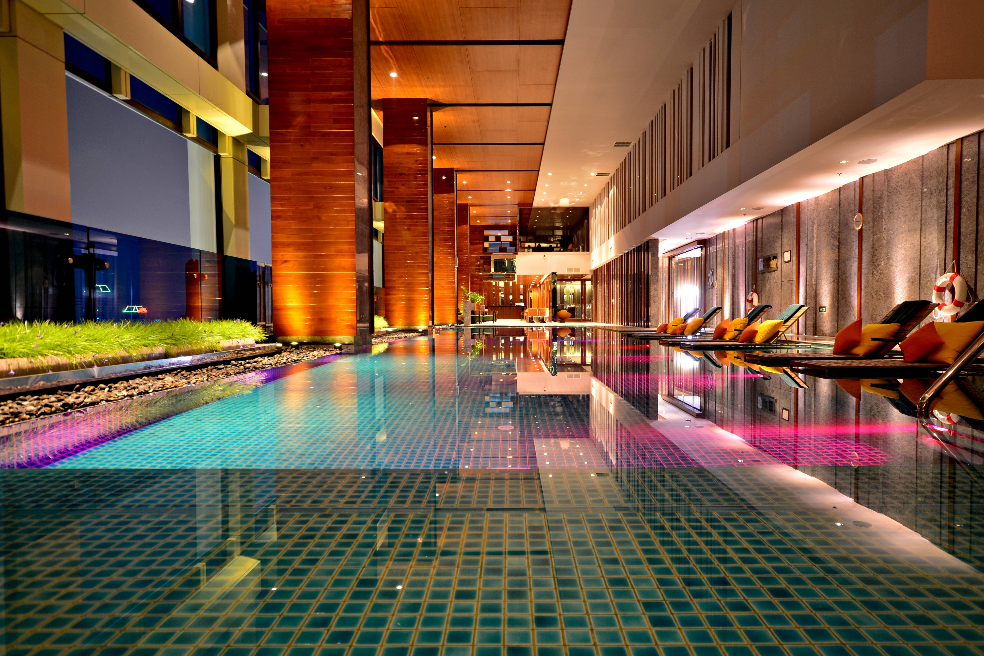 Indoor pool in Bangkok hotel