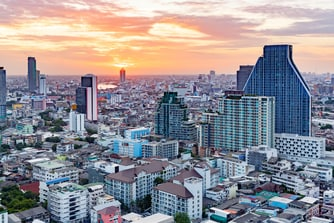 Sunset view overlooking Bangkok city