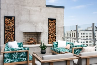 Outdoor Fireplace at Rare Bird