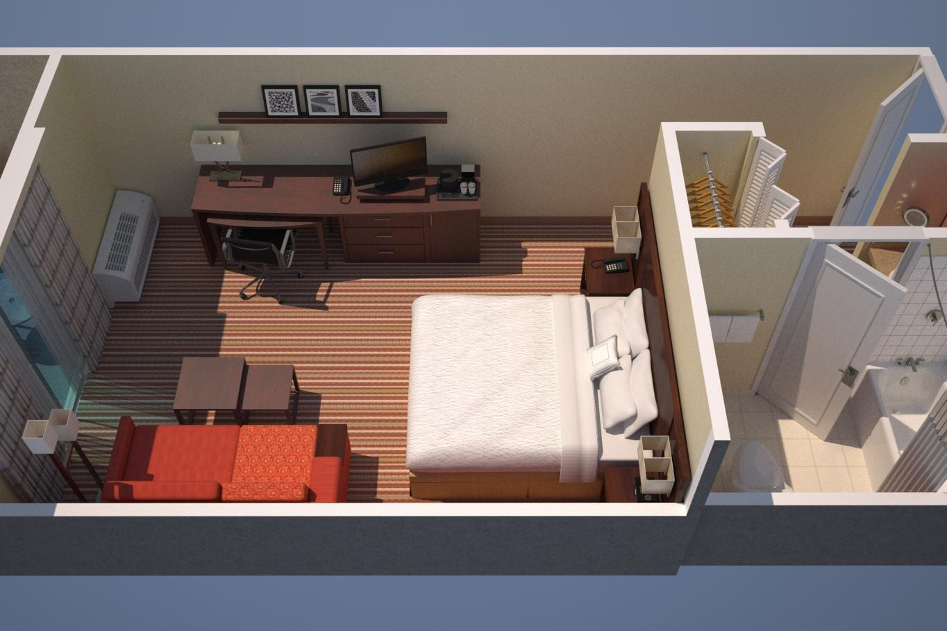 1 King Bed with balcony and sofabed